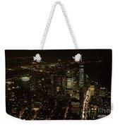 Skyline Of New York City - Lower Manhattan Night Aerial Weekender Tote Bag