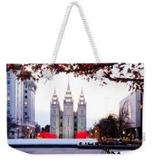 Slc Temple Red And White Weekender Tote Bag