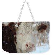 Sleepy Winter Cow Weekender Tote Bag