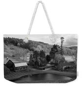 Sleepy Hollows Farm Woodstock Vermont Vt Pond Black And White Weekender Tote Bag