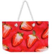 Sliced Red Strawberry Background Weekender Tote Bag