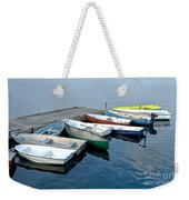 Small Boats Docked To A Pier Weekender Tote Bag