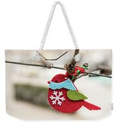 Small Red Handicraft Bird Hanging On A Wire Weekender Tote Bag