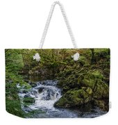 Small River Cascade Over Mossy Rocks In Northern Wales Weekender Tote Bag