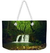 Small Waterfall In Forest Weekender Tote Bag