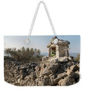 Small White Chapel And A Metal Cross On A Stone Wall Near Cres Weekender Tote Bag