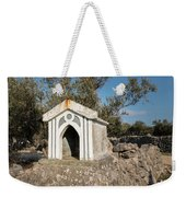 Small White Chapel On A Stone Wall Near Cres Weekender Tote Bag