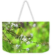 Smelling The Cherry Blossom Male  American Goldfinch Weekender Tote Bag