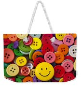 Smiley Face Button Weekender Tote Bag by Garry Gay