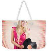 Smiling Dj Woman In Love With Retro Music Weekender Tote Bag