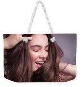 Smiling Young Woman With Long Brown Hair Weekender Tote Bag