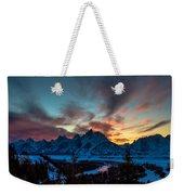 Snake River And Tetons At Sunset Weekender Tote Bag