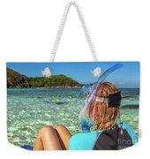 Snorkeler Relaxing On Tropical Beach Weekender Tote Bag