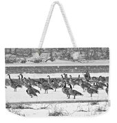 Snow And Geese On The River II Weekender Tote Bag
