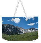 Snow And Mountains And Grass Weekender Tote Bag