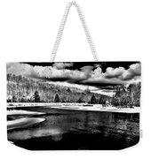 Snow At The River - Bw Weekender Tote Bag