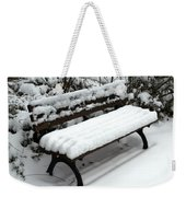 Snow Bench Weekender Tote Bag