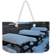 Snow Benches Weekender Tote Bag