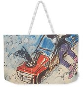 Snow Blowing Weekender Tote Bag