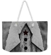Snow Covered Birdhouse Weekender Tote Bag