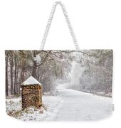 Snow Covered Brick Pillar Weekender Tote Bag