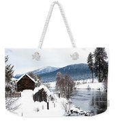 Snow Covered Cabin Weekender Tote Bag