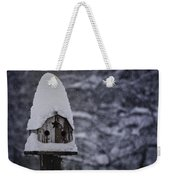 Snow Covered Elf Birdhouse Weekender Tote Bag