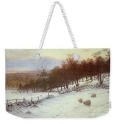Snow Covered Fields With Sheep Weekender Tote Bag by Joseph Farquharson