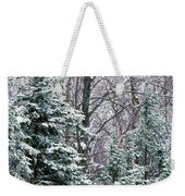 Snow-covered Forest, Wisconsin, Usa Weekender Tote Bag
