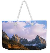 Snow Covered Mountain Range, The Weekender Tote Bag