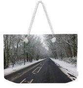Snow Covered Road Weekender Tote Bag