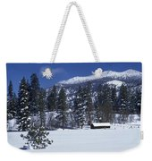 Snow Covered Trees And Cabin At Rock Weekender Tote Bag