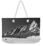Snow Dusted Flatirons Boulder Co Panorama Bw Weekender Tote Bag