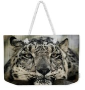 Snow Leopard Upclose Weekender Tote Bag