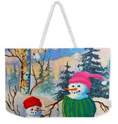 Snow Mom And Son Weekender Tote Bag