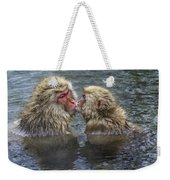 Snow Monkey Kisses Weekender Tote Bag