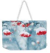 Snow On Red Berries Weekender Tote Bag