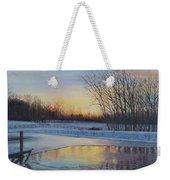 Snow Scene At Sunset Weekender Tote Bag