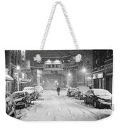 Snow Storm In Chinatown Boston Chinatown Gate Black And White Weekender Tote Bag