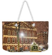 Snow Storm In Faneuil Hall Quincy Market Boston Ma Weekender Tote Bag