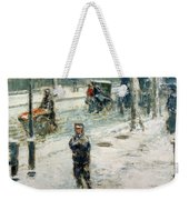 Snow Storm On Fifth Avenue Weekender Tote Bag by Childe Hassam
