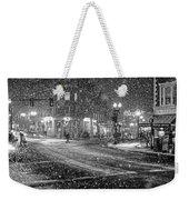 Snowfall In Harvard Square Cambridge Ma 2 Black And White Weekender Tote Bag