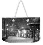 Snowfall In Harvard Square Cambridge Ma Kiosk Black And White Weekender Tote Bag