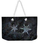 Snowflake Photo - When Winters Meets Weekender Tote Bag by Alexey Kljatov