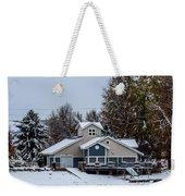 Snowy Boat House Weekender Tote Bag