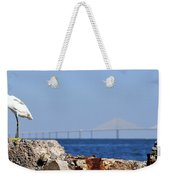 Snowy Egret And Sunshine Skyway Bridge Weekender Tote Bag