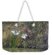 Snowy Egret Confrontation 8664-022018-1 Weekender Tote Bag