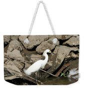 Snowy Egret Fishing Weekender Tote Bag