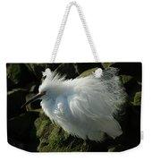 Snowy Egret Fluffy Weekender Tote Bag