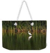 Snowy Egret In Marsh Reinterpreted Weekender Tote Bag